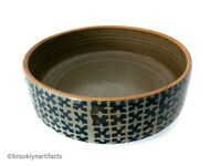 Modernist Studio Art Stoneware Pottery Large Blue Serving Bowl by Michael Cohen