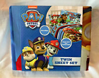 NEW PAW PATROL 3 PIECE TWIN SHEET SET FLAT, FITTED AND PILLOWCASE