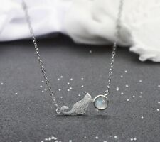 Cute Cat Plays Moonstone 925 Silver Plated Necklace Choker Gift UK
