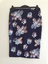 Stunning Ladies M&Co Boutique Navy/Floral Stretch Pencil Knee Length Skirt-UK 14