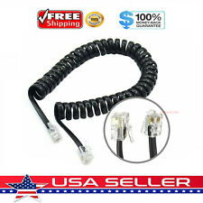 7FT Telephone Handset Receiver Cord Phone Curly Coil Cable 4P4C RJ22 - Black