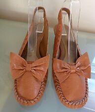 M&S Ladies Shoes 6 39 Tan Slingbacks Bow Kitten Heel Blogger Fashion EUC