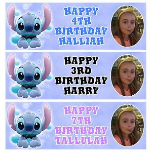 DISNEY STITCH PHOTO Personalised Birthday Banner - Birthday Party Banner - 1x3ft