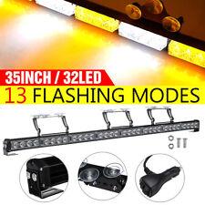 35'' 32LED Traffic Advisor Emergency Hazard Warning Strobe Light Bar Amber+White