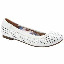 3079e77e41 Vionic Spark Surin Women's White Laser Cut out Leather Ballet Style PUMPS  ...