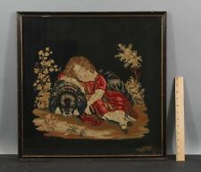 19thC Antique Victorian Folk Art Embroidery Girl & King Charles Spaniel Dog
