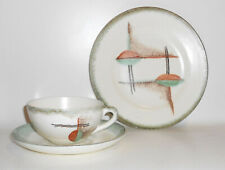 Art Deco Bauhaus Keramik Gedeck wohl Elsterwerda Entwurf Probestück Spritzdekor