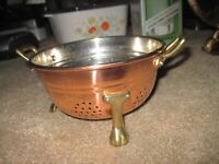 "VINTAGE Small Copper Brass Footed 6"" W x 3.5"" H Colander Strainer"