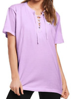 NWT VICTORIA'S SECRET PINK LACE UP CAMPUS LILAC PURPLE SHORT SLEEVE SHIRT XSMALL