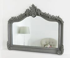 "Cristina Grey Arched Overmantle Wall Mirror 50"" x 40"" V Large"