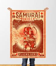 Japanese Samurai Skull Vintage Plasma Mini Gun Poster Art 18x24in Sci-Fi