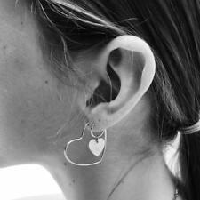 Women Double Love Heart Hoop Dangle Earring Set Detachable Ear Studs Jewelry