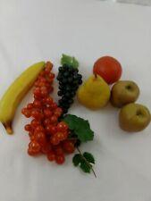 Vintage Faux Fruit Table Decor Grapes Apples Lemon Orange Mix 9 Piece Lot