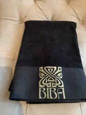 Biba Black Embroidered Logo Bath Sheet, Towel
