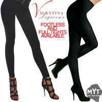 Ladies Women Black Soft Fleece Lined Footless & Full Tights Opaque Warm Thermal