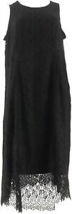 Isaac Mizrahi Hi-Low Lace Maxi Dress Black S NEW A303177