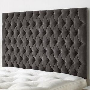 TULIP 44 INCH EXTRA TALL Headboards  Design in CHENILLE WITH MATCHING BUTTON