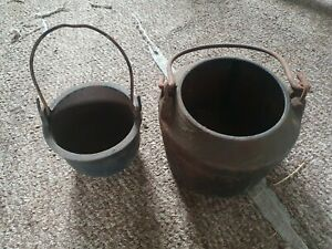 Vintage/Antique cast iron Pots. Cooking pots, gypsy/romany.