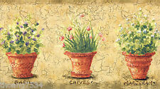 Tuscan Tuscany Golden Crackle Flowering Herbs in Pots Kitchen Wall paper Border
