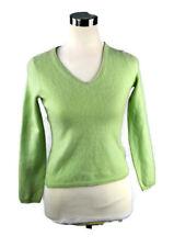 Sutton Studio 100% Cashmere Green V Neck Long Sleeve Blouse Shirt Top Green M