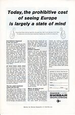 Vintage print ad 1961 Swisscare Swissair airlines Prohibitive Cost of Seeing