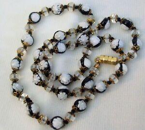 """Unusual Vintage Vintage Black & White Millefiori Bead Necklace 21"""""""