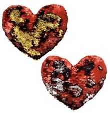 Lot Of 2 Valentines Red Sequin Heart Pillows - Change To Gold & Silver -8x8 Inch