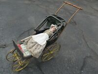 Extremely Rare ANTIQUE VICTORIAN DOLL CARRIAGE, Folding Top, c1870, GIFT