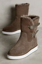 Australia Luxe Taupe Fur Lined Shearling Suede Boot Mid Calf Flatform 8 NIB