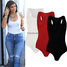 Ladies Womens Muscle Racer Back Sleeveless Bodysuit Stretch Leotard Vest Top HOT