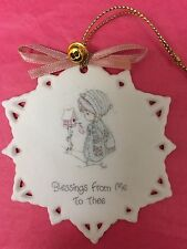 """1990 Precious Moments®Porcelain Snowflake Ornament """"Blessings From Me To Thee"""""""