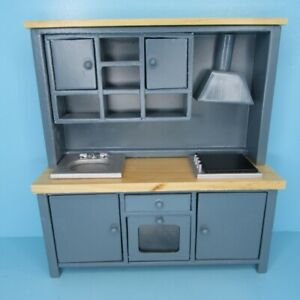 Dollhouse Miniature Wood Kitchen Sink Stove and Cabinets Unit in Grey T2604