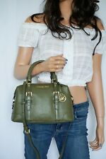 Michael Kors Ginger Small Duffle Satchel Pebbled Leather Bag Green(Duffle)