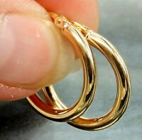 9CT GOLD EARRINGS HOOP CREOLE SLEEPER 9 CARAT YELLOW GOLD