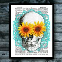 Sunflower Skull Mandala Dictionary Art Print Anatomy Bright Gothic Home Decor