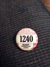 Vintage Connecticcut 1938 Resident Combination License Button