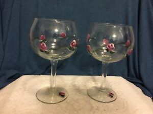 "SET OF TWO HAND PAINTED WINE GLASSES WITH  ""PINK ROSES"""
