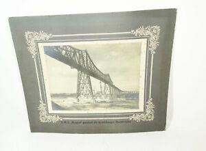Pappfoto Kriegsmarine SMS Hessen passiert die Rendsburger Hochbrücke 1913er !