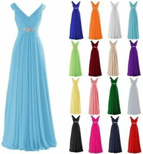 Long Chiffon Wedding Bridesmaid Dresses Formal Party Ball Prom Gown Dresses 6-26