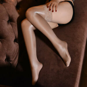 Womens Oil Shiny Glossy High Stockings Lace Costume Stay Up Thigh Highs Hosiery