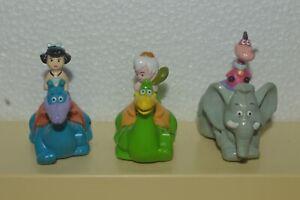 Vintage 1991 The Flintstones Dino-Racers Denny's 3 Pull Back Figures Very Good
