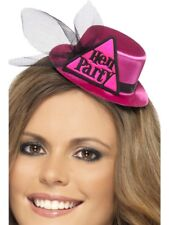 Smiffys Hen Party Hat With Hairclip and Veil - Pink