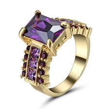 Princess Purple Amethyst Ring Women's 10Kt Yellow Gold Filled Wedding Gift Size8