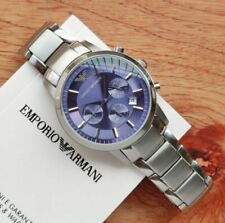Emporio Armani Mens Watch AR2448 Stainless Steel Blue Dial Original Box and Tags