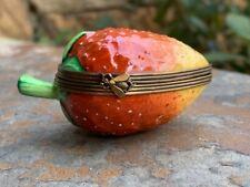 Limoges France Peint Main Strawberry Trinket Box