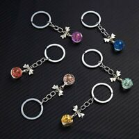 Multicolor Ball Dry Flower Chain Blossom Glass Bow Bag keychain Floral Keyrings