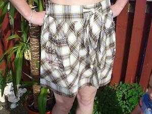 Ladies ROXY Cotton Short Cute Mini Skirt White & Brown Check UK Size 10 NEW