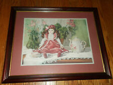 Home Interiors Victorian Doll Picture Tea Party Cup Framed Matted by Val Bishop