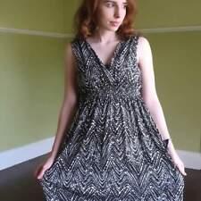 Kenneth Cole New York Stretchy Rayon Knit Faux Wrap Dress Brown White Splatter M