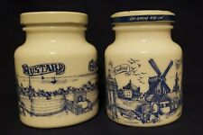 Vintage FRENCH AND GERMAN MILK GLASS MUSTARD JARS (2) * WOW *